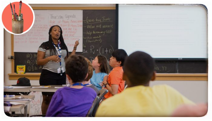 A teacher leading a class discussion