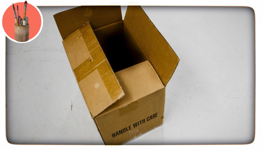 "empty box that says ""handle with care"""